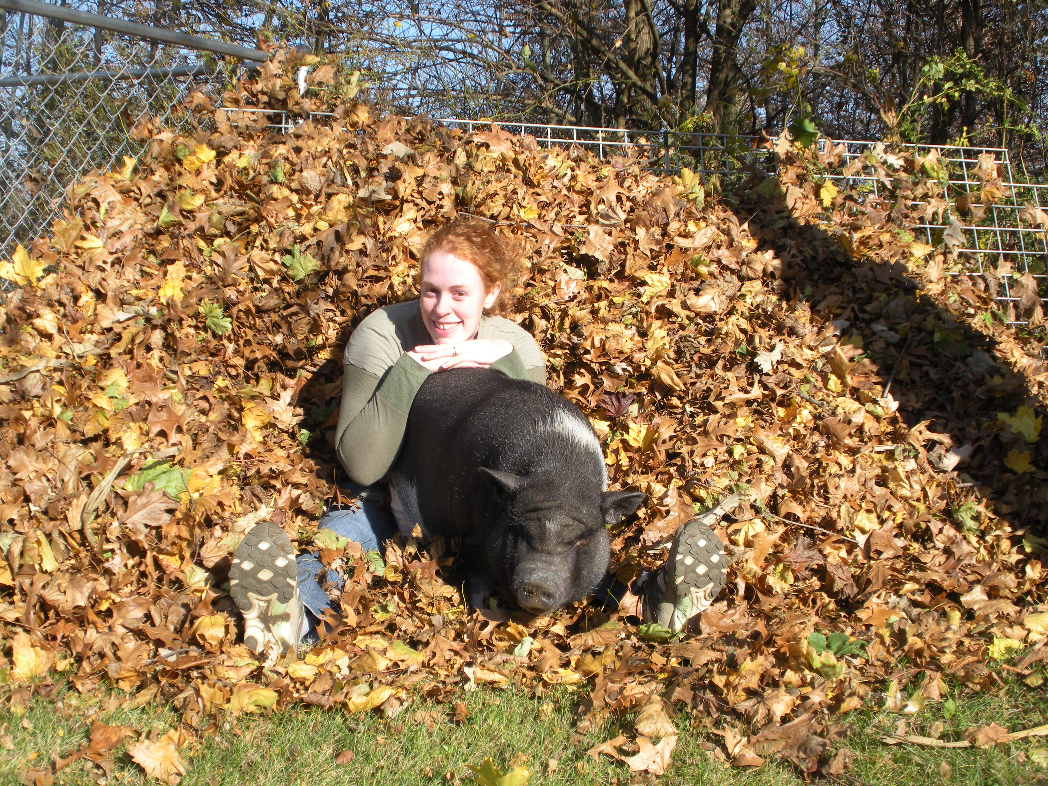 Penny And Mom posing in the leaves.